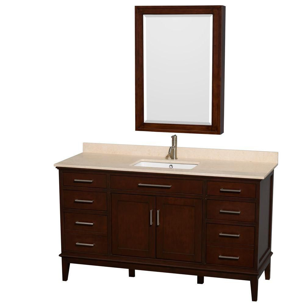 Hatton 60-inch W Vanity in Dark Chestnut with Marble Top in Ivory and Medicine Cabinet