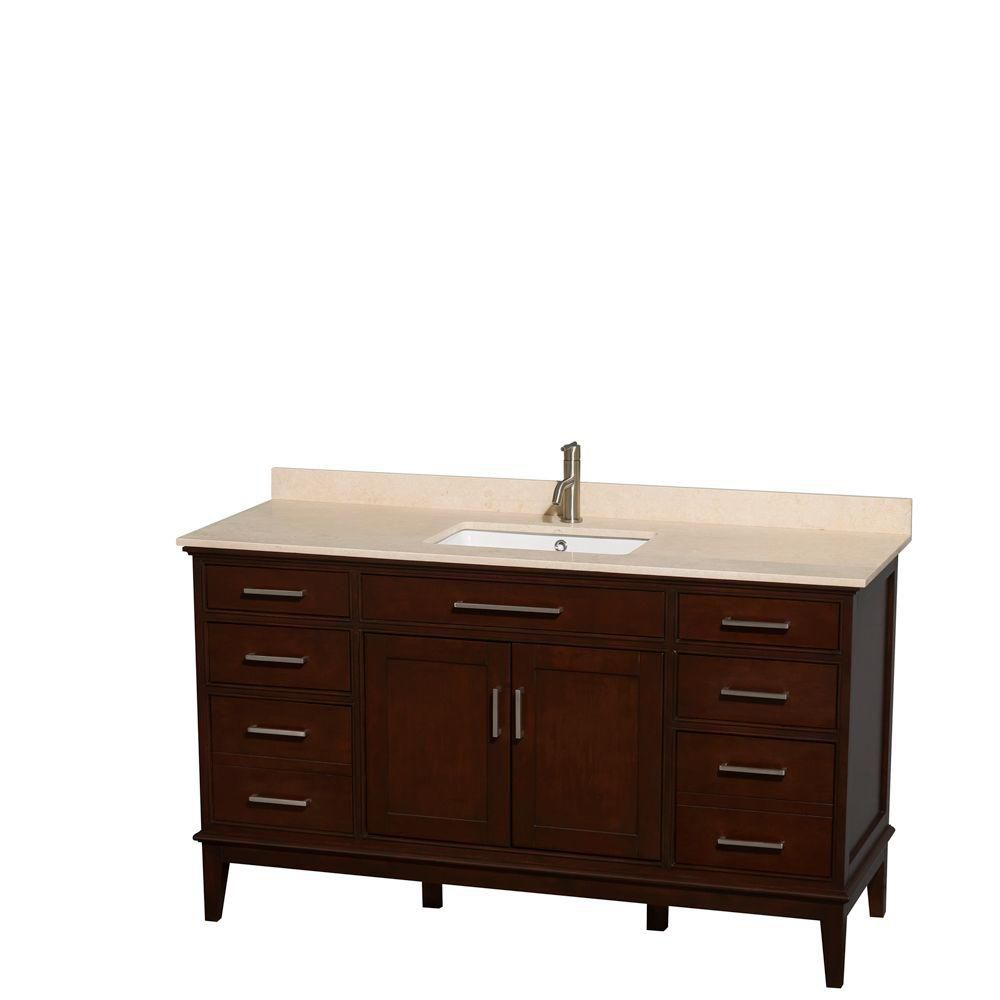 Hatton 60-inch W Vanity in Dark Chestnut with Marble Top in Ivory and Square Sink