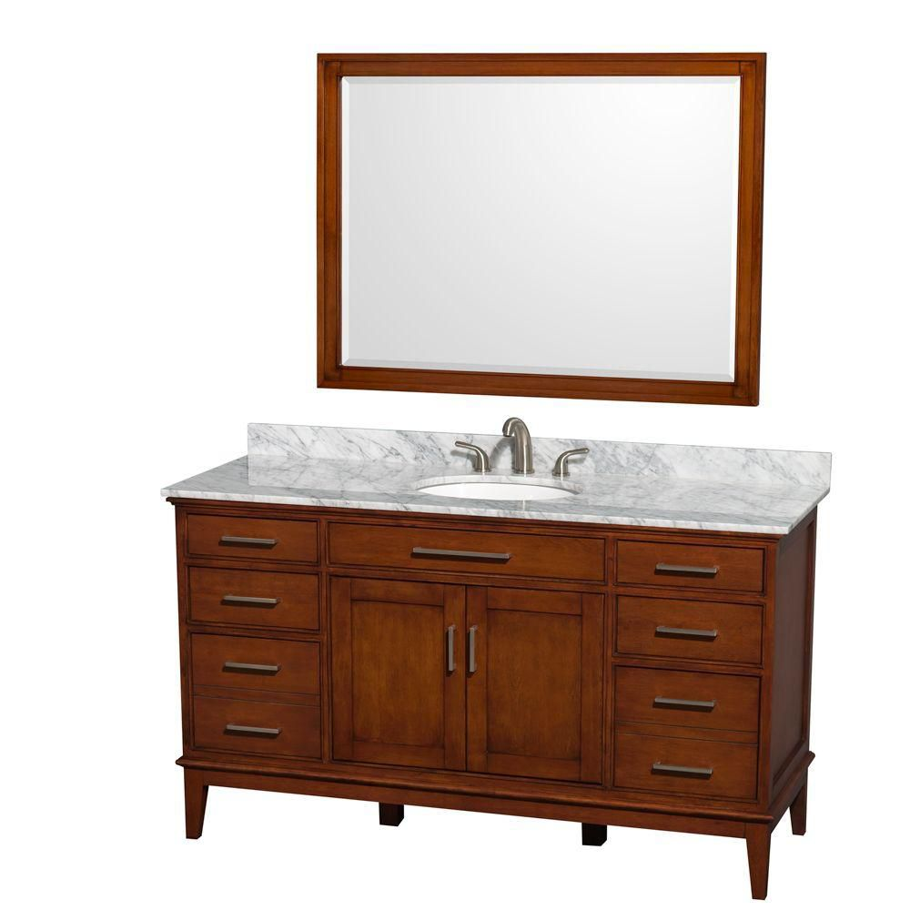Hatton 60-inch W Vanity in Light Chestnut with Marble Top in Carrara White, Sink and Mirror