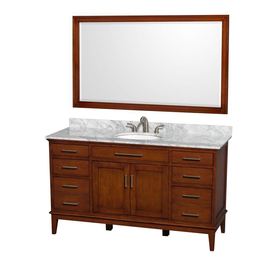 Hatton 60 po Meuble châtain clair et revêt. en marbre blanc Carrare, évier et de 56po Miroir