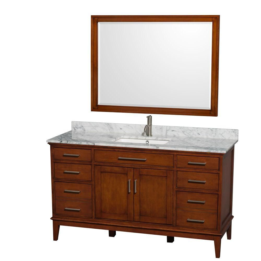 Hatton 60-inch W Vanity in Light Chestnut with Marble Top, Square Sink and Mirror