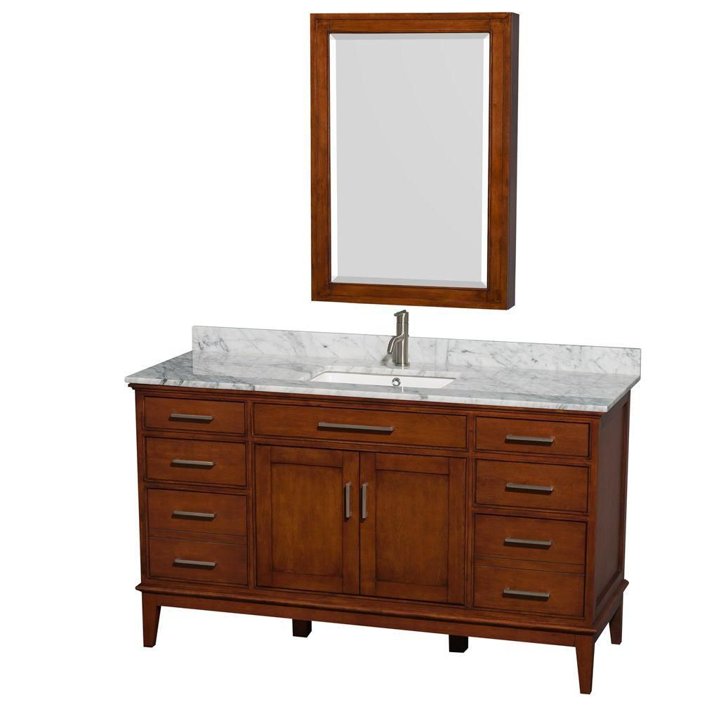 Hatton 60-inch W Vanity in Light Chestnut with Marble Top, Square Sink and Medicine Cabinet