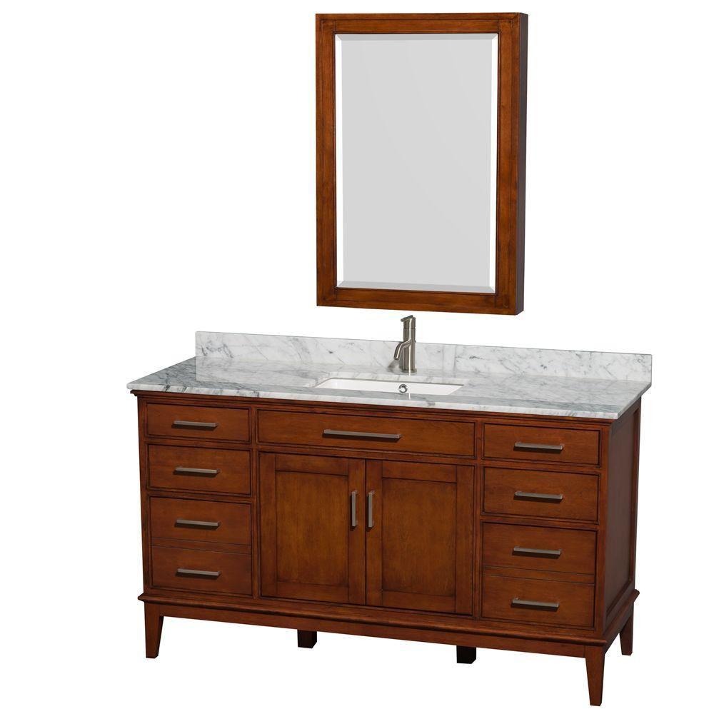 Hatton 60 po Meuble châtain clair et revêt. marbre blanc Carrare, évier carré et espace de rangem...