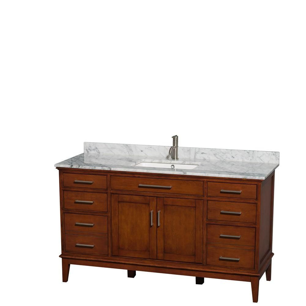 Hatton 60-inch W Vanity in Light Chestnut with Marble Top in Carrara White and Square Sink
