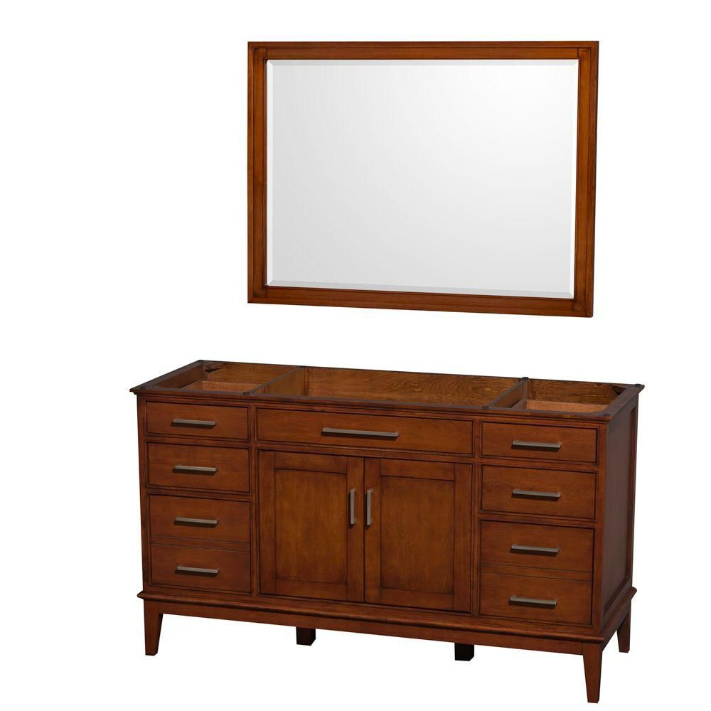 Hatton 59-Inch  Vanity Cabinet with Mirror in Light Chestnut