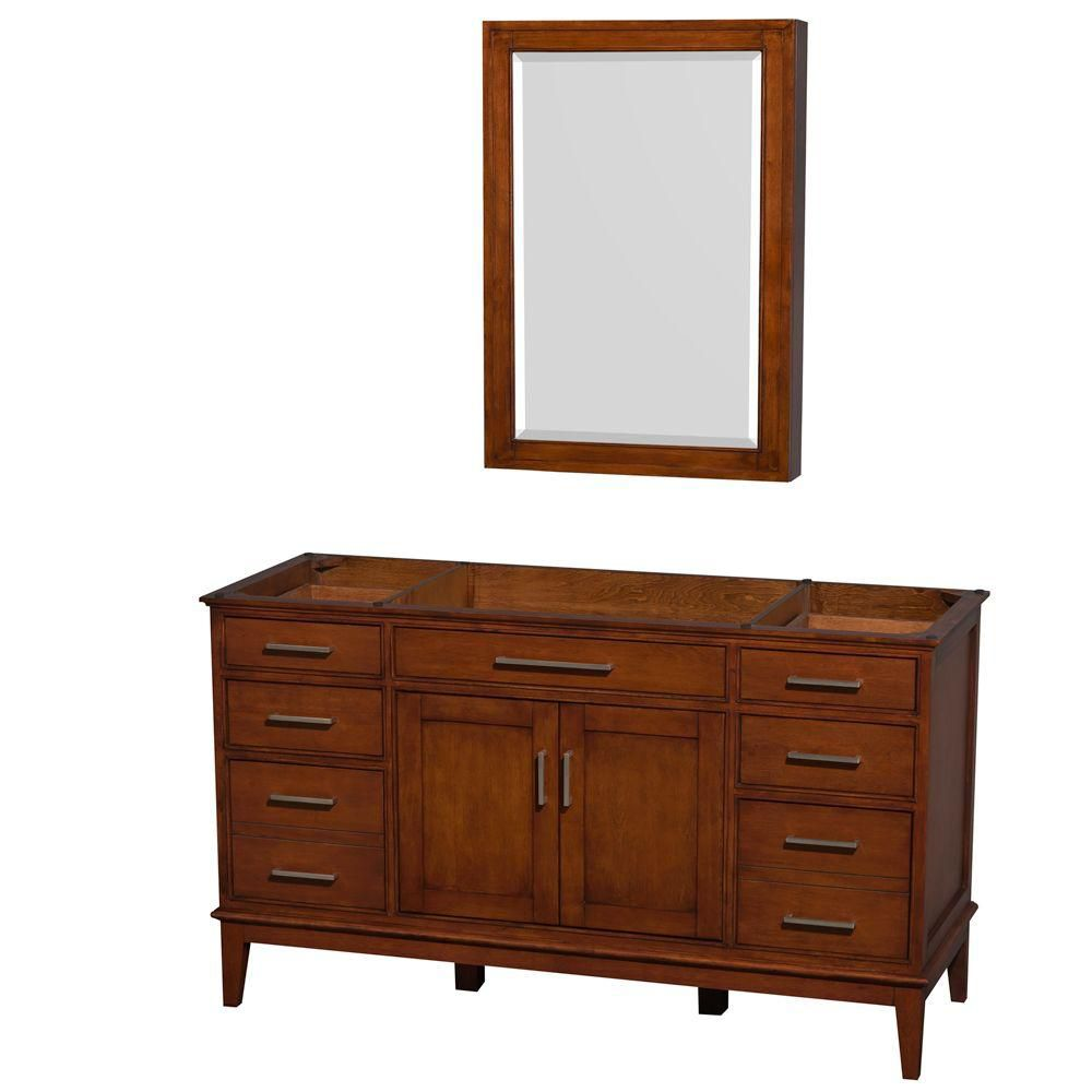 Hatton 59 In. Vanity with Mirror Medicine Cabinet in Light Chestnut WCV161660SCLCXSXXMED Canada Discount