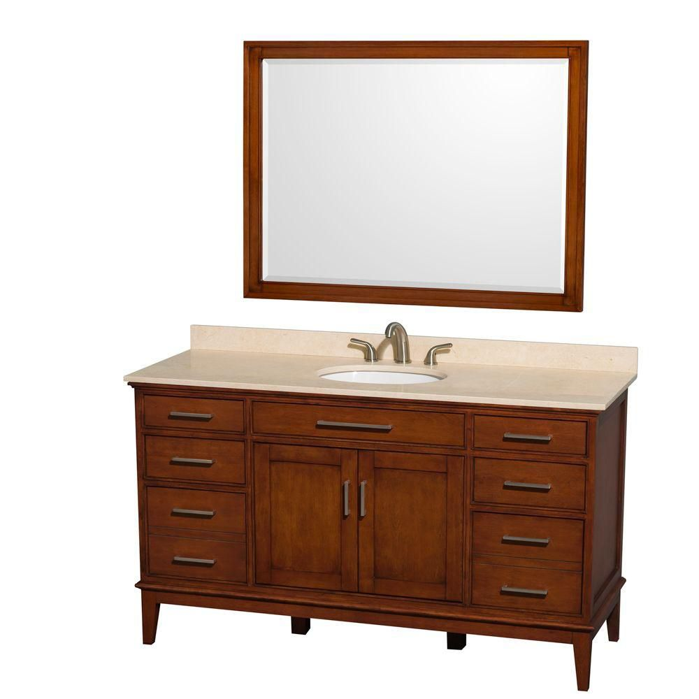 Hatton 60-inch W Vanity in Light Chestnut with Marble Top, Sink and Mirror