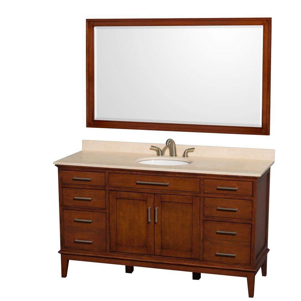 Hatton 60-inch W Vanity in Light Chestnut with Marble Top in Ivory, Sink and 56-inch Mirror
