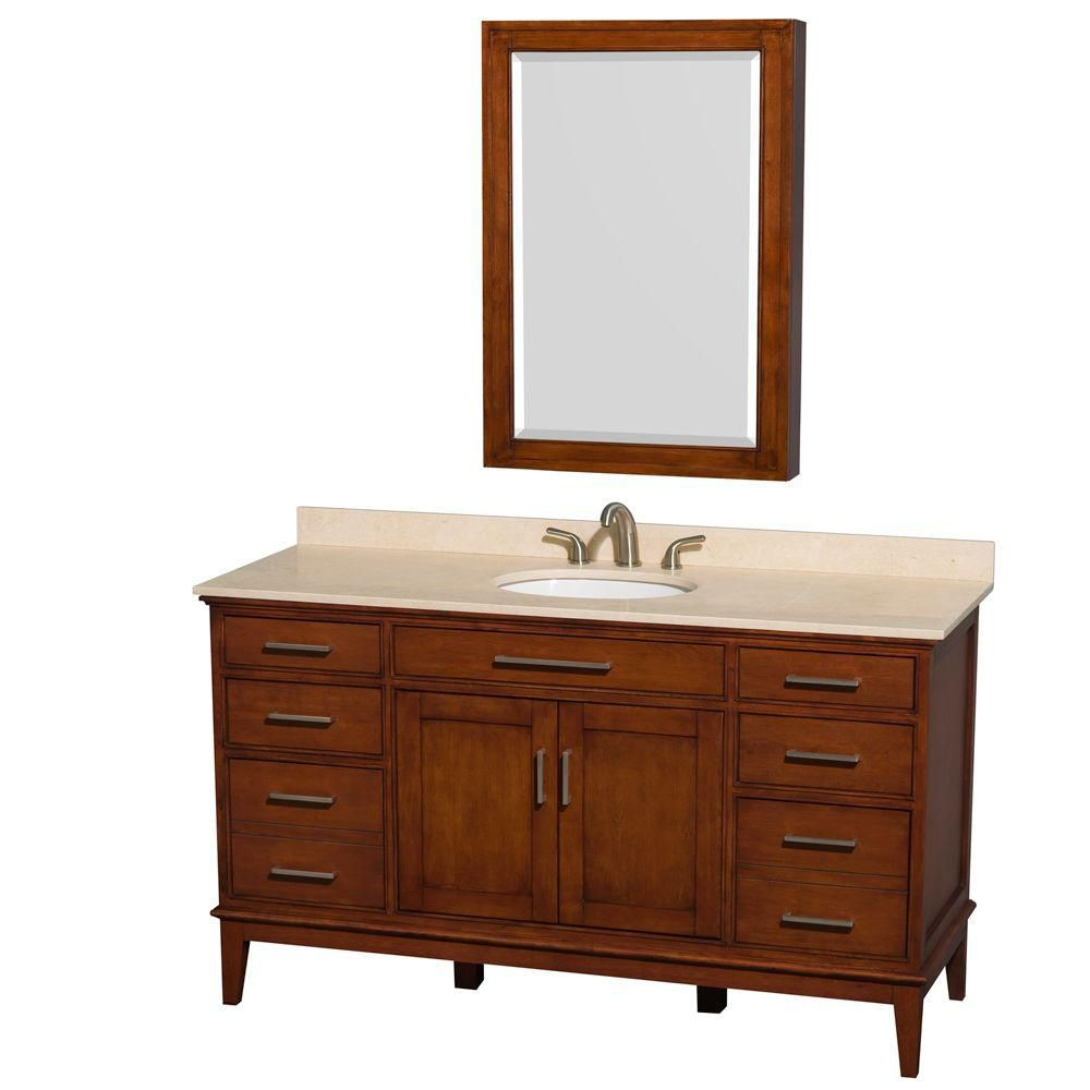 Hatton 60-inch W Vanity in Light Chestnut with Marble Top in Ivory, Sink and Medicine Cabinet