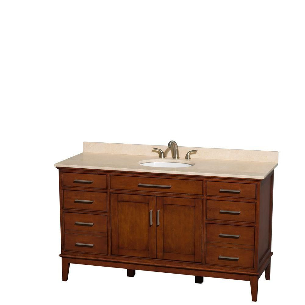 Hatton 60-inch W Vanity in Light Chestnut with Marble Top in Ivory and Oval Sink