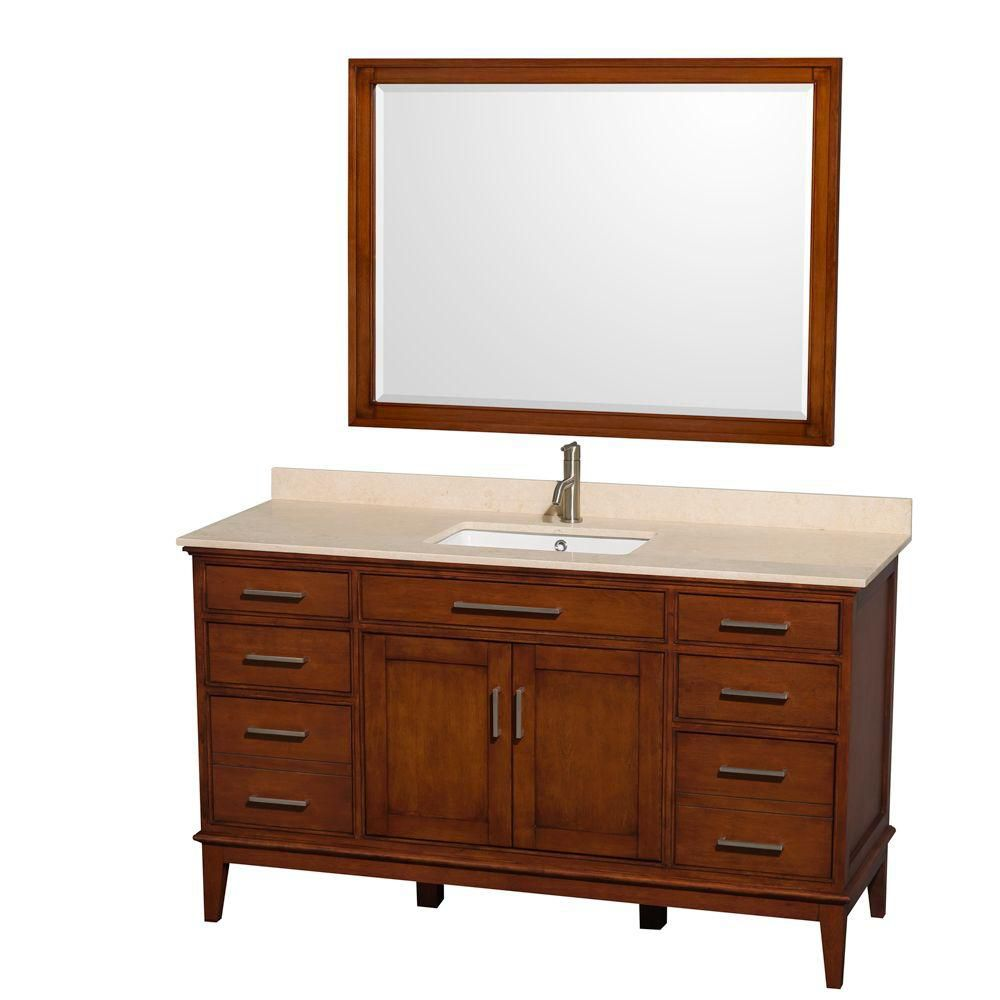 Hatton 60 po Meuble châtain clair et revêt. marbre ivoire, évier carré et de 112cm 44po Miroir
