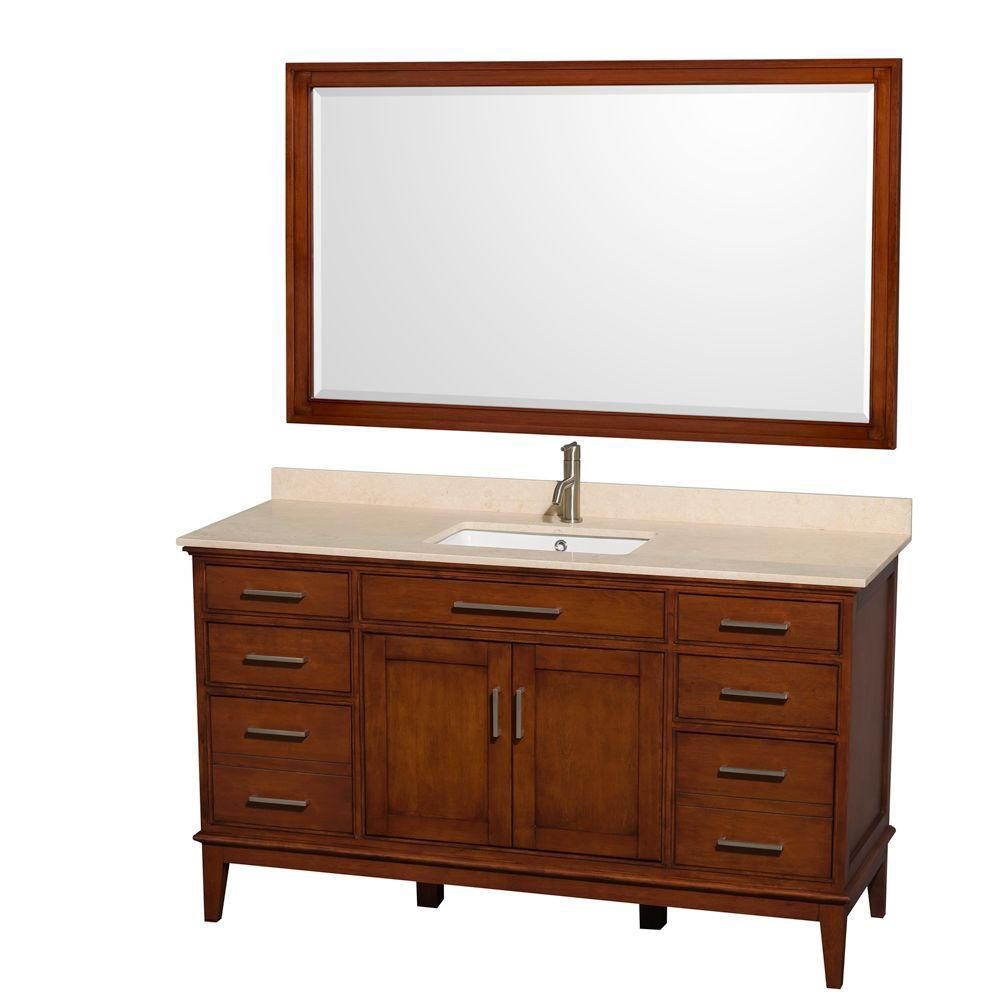 Hatton 60-inch W Vanity in Light Chestnut with Marble Top in Ivory and 56-inch Mirror