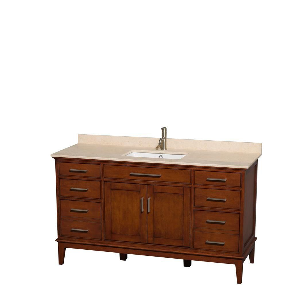 Hatton 60-inch W Vanity in Light Chestnut with Marble Top in Ivory and Square Sink