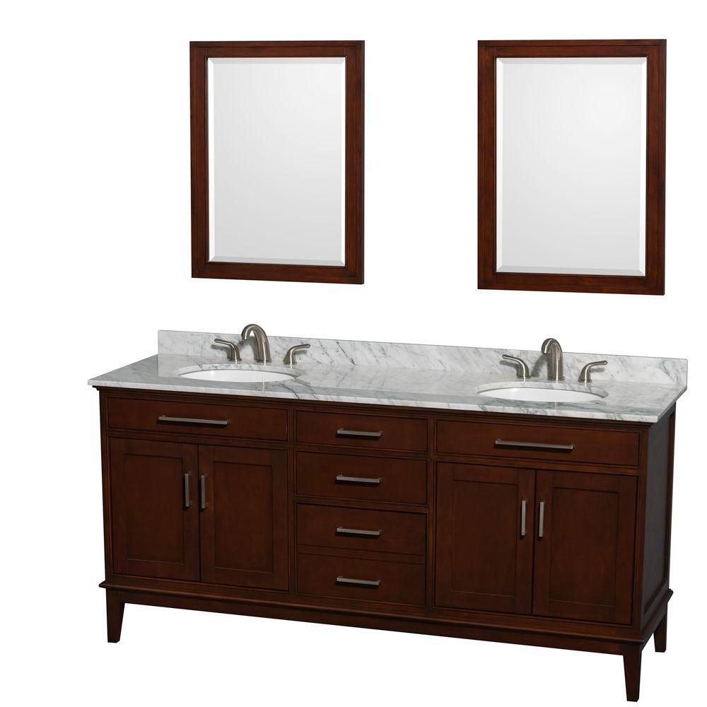 Hatton 72-inch W Double Vanity in Dark Chestnut with Marble Top in Carrara White and Mirrors