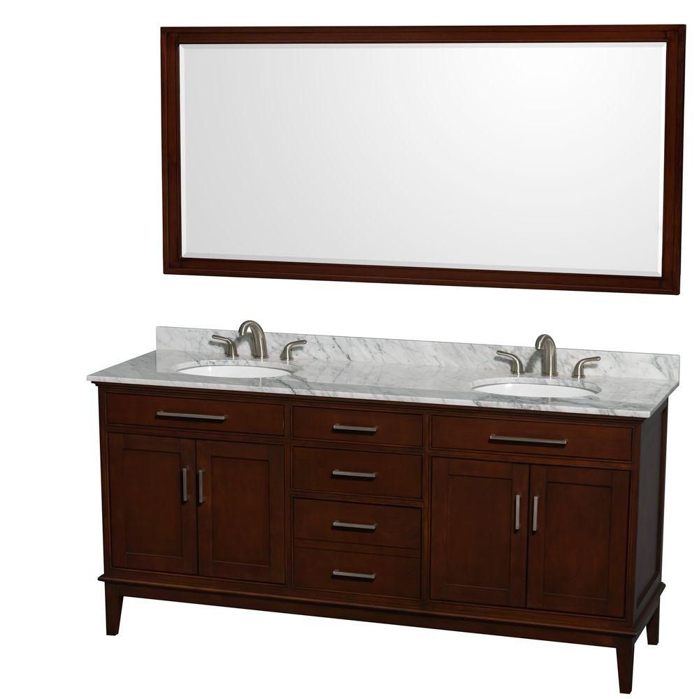 Hatton 72-inch W Double Vanity in Dark Chestnut with Marble Top in Carrara White and 70-inch Mirr...
