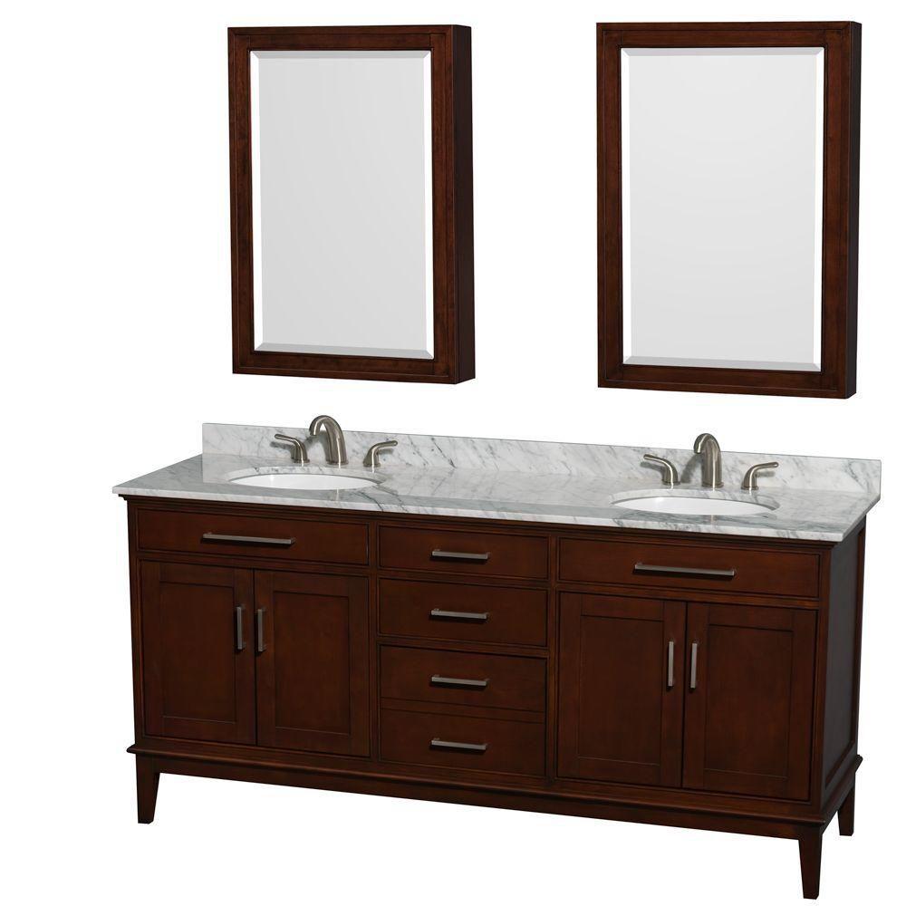 Hatton 72-inch W Vanity in Dark Chestnut with Marble Top, Sinks and Medicine Cabinet