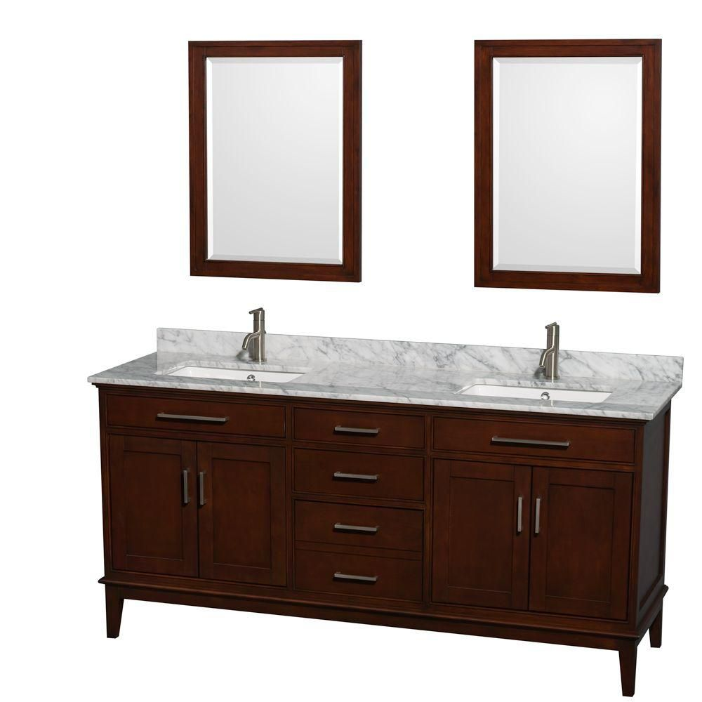 Hatton 72-inch W Vanity in Dark Chestnut with Marble Top, Square Sinks and Mirrors