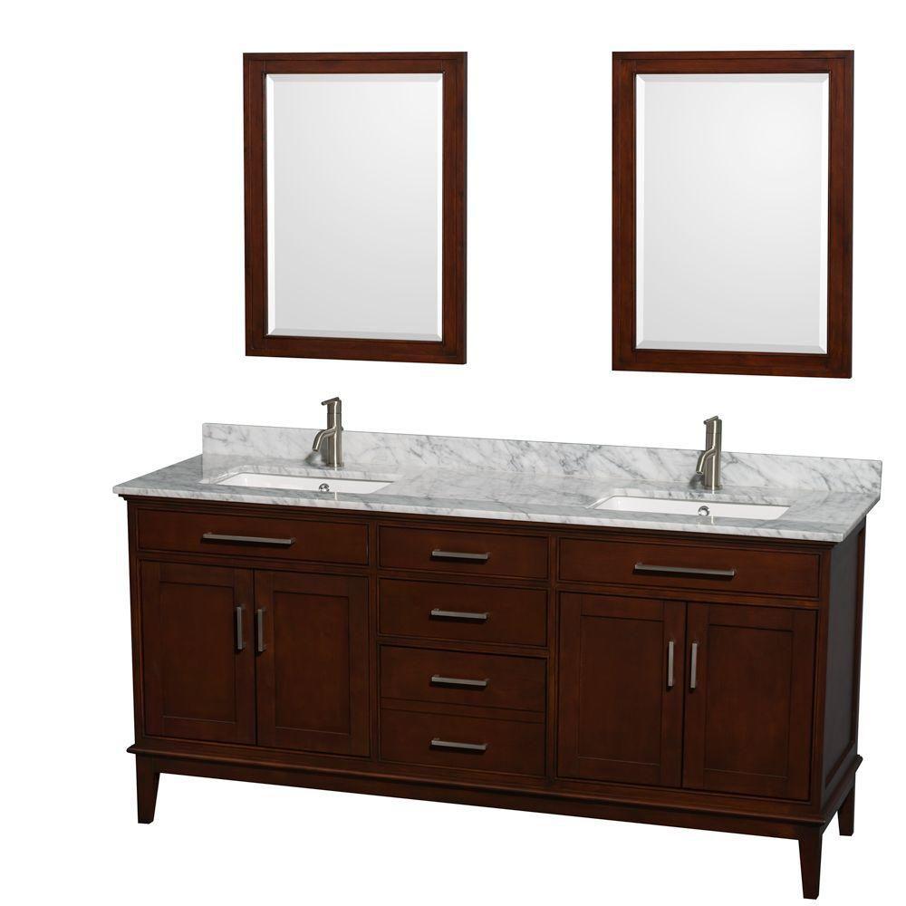 Hatton 72 po Meuble châtain foncé et revêtement en marbre blanc Carrare, éviers carrés et miroirs