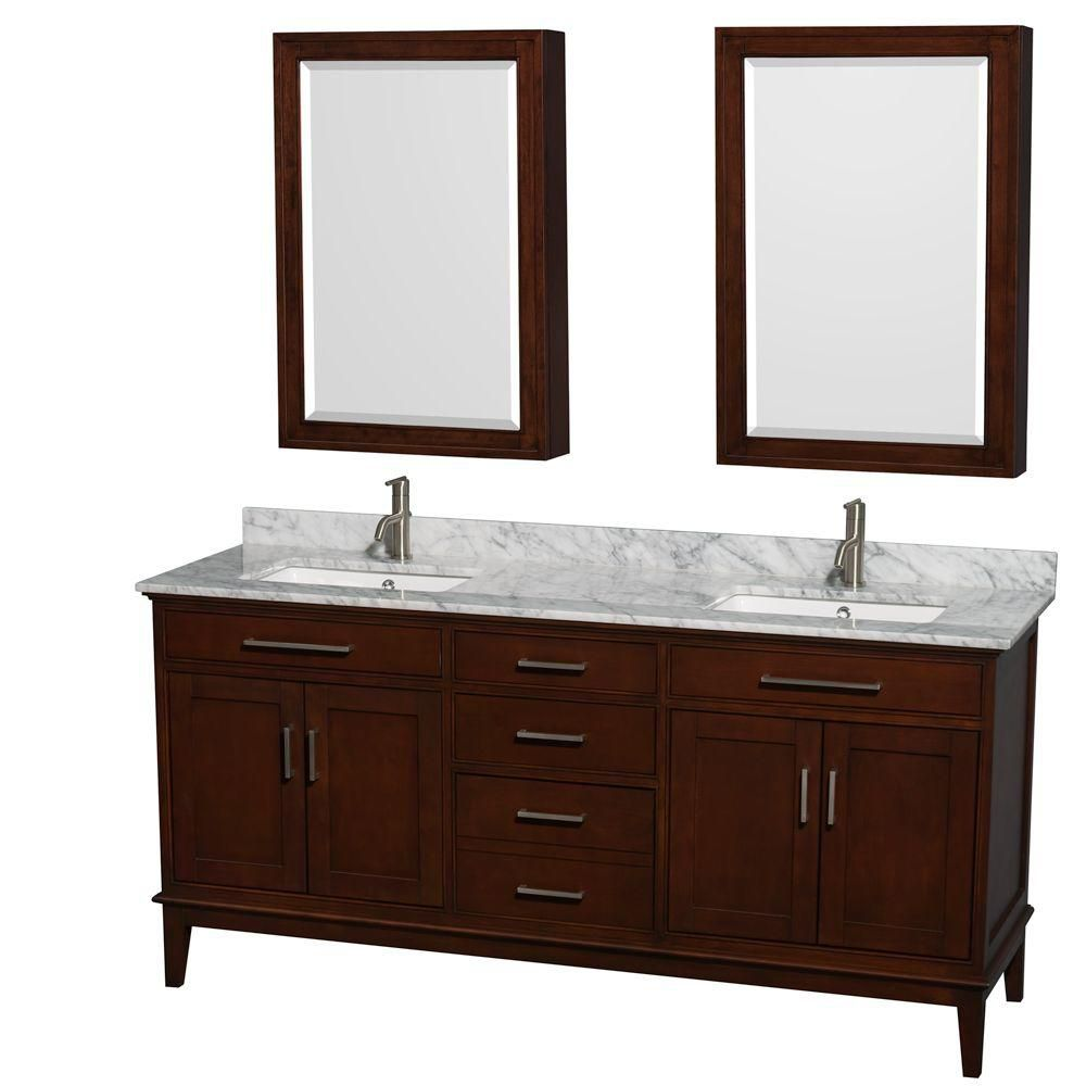 Wyndham Collection Hatton 72-inch W 3-Drawer 4-Door Vanity in Brown With Marble Top in White, Double Basins With Mirror