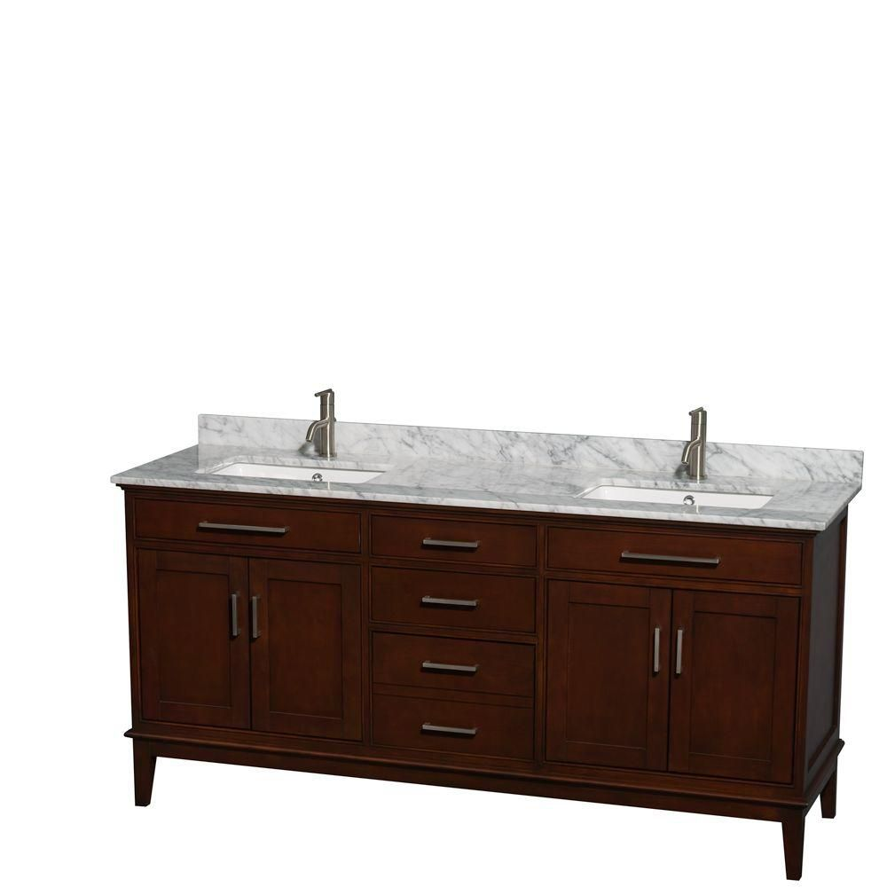Wyndham Collection Hatton 72-inch W 3-Drawer 4-Door Vanity in Brown With Marble Top in White, Double Basins