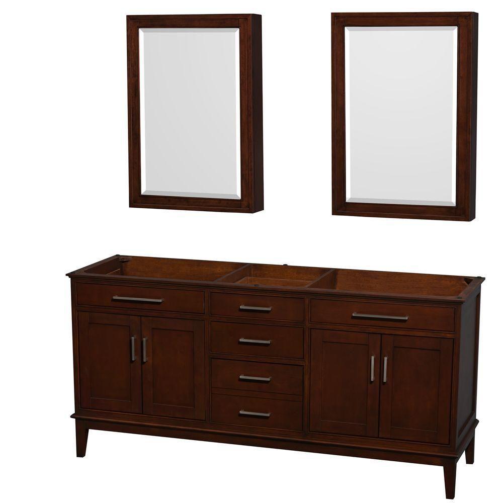 Hatton 71-Inch  Vanity Cabinet with Mirror Medicine Cabinet in Dark Chestnut