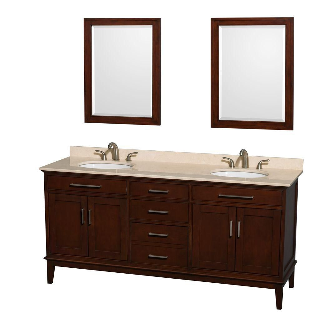 Hatton 72-inch W Double Vanity in Dark Chestnut with Marble Top, Sinks and 24-inch Mirrors