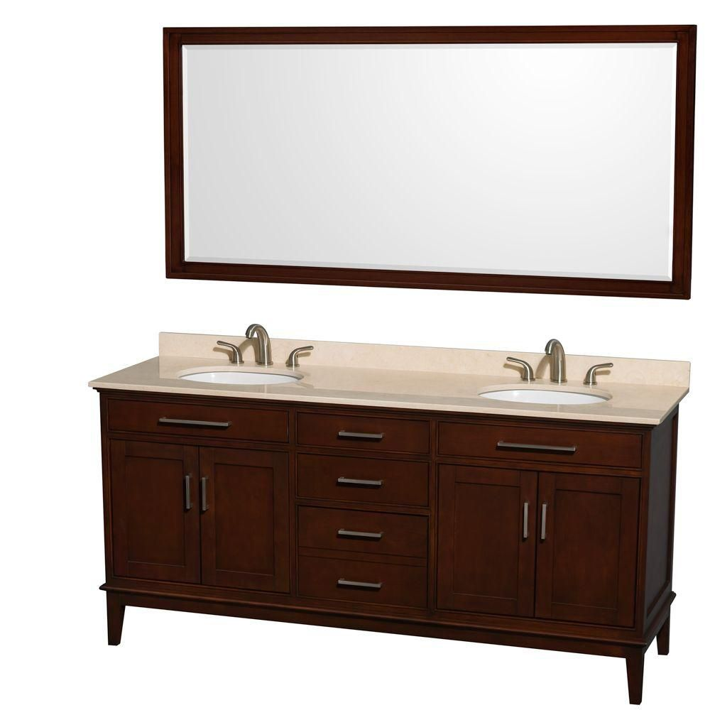 Hatton 72-inch W Vanity in Dark Chestnut with Marble Top, Sinks and 70-inch Mirror