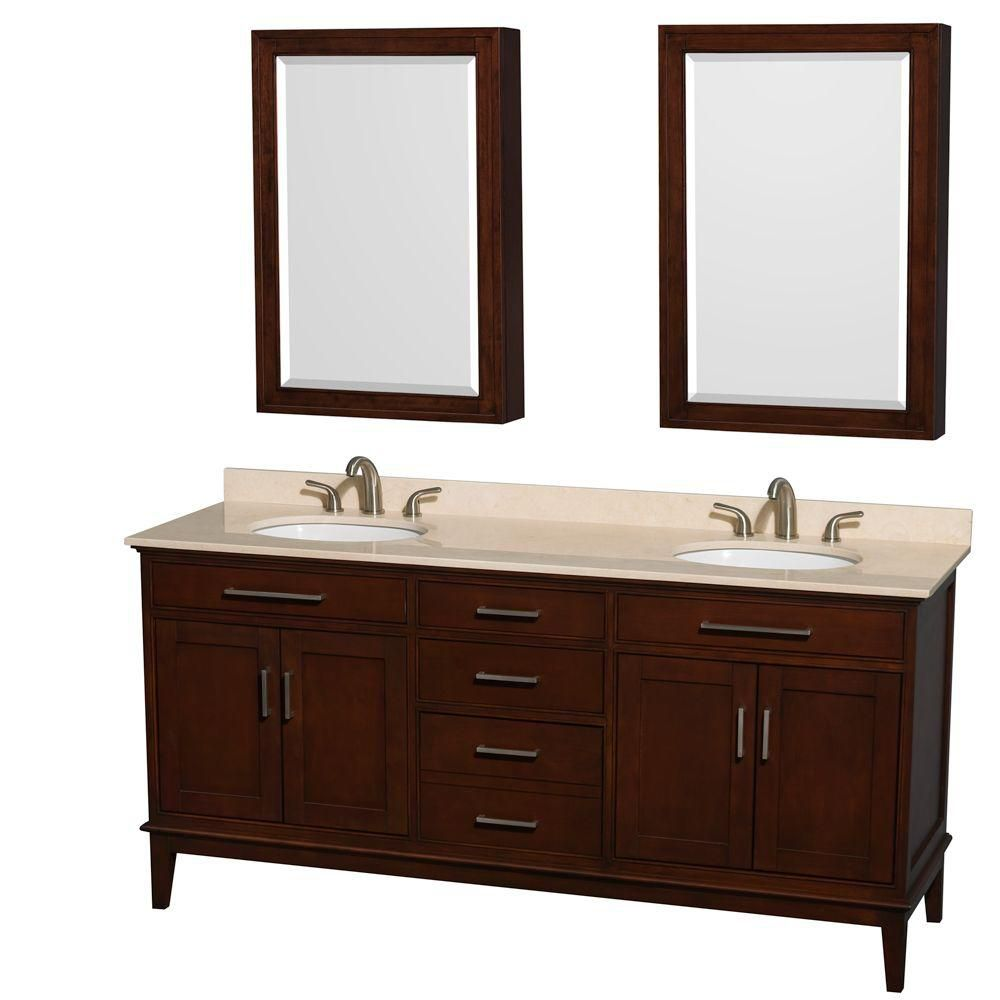 Hatton 72-inch W Vanity in Dark Chestnut with Marble Top in Ivory and Medicine Cabinet