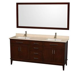 Wyndham Collection Hatton 72-inch W 3-Drawer 4-Door Vanity in Brown With Marble Top in Beige Tan, Double Basins