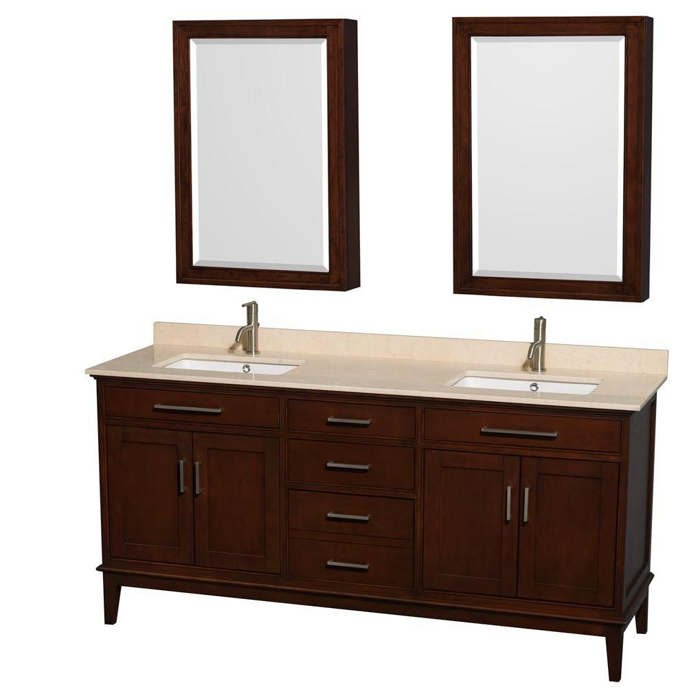 Hatton 72-inch W Vanity in Dark Chestnut with Marble Top, Square Sinks and Medicine Cabinet
