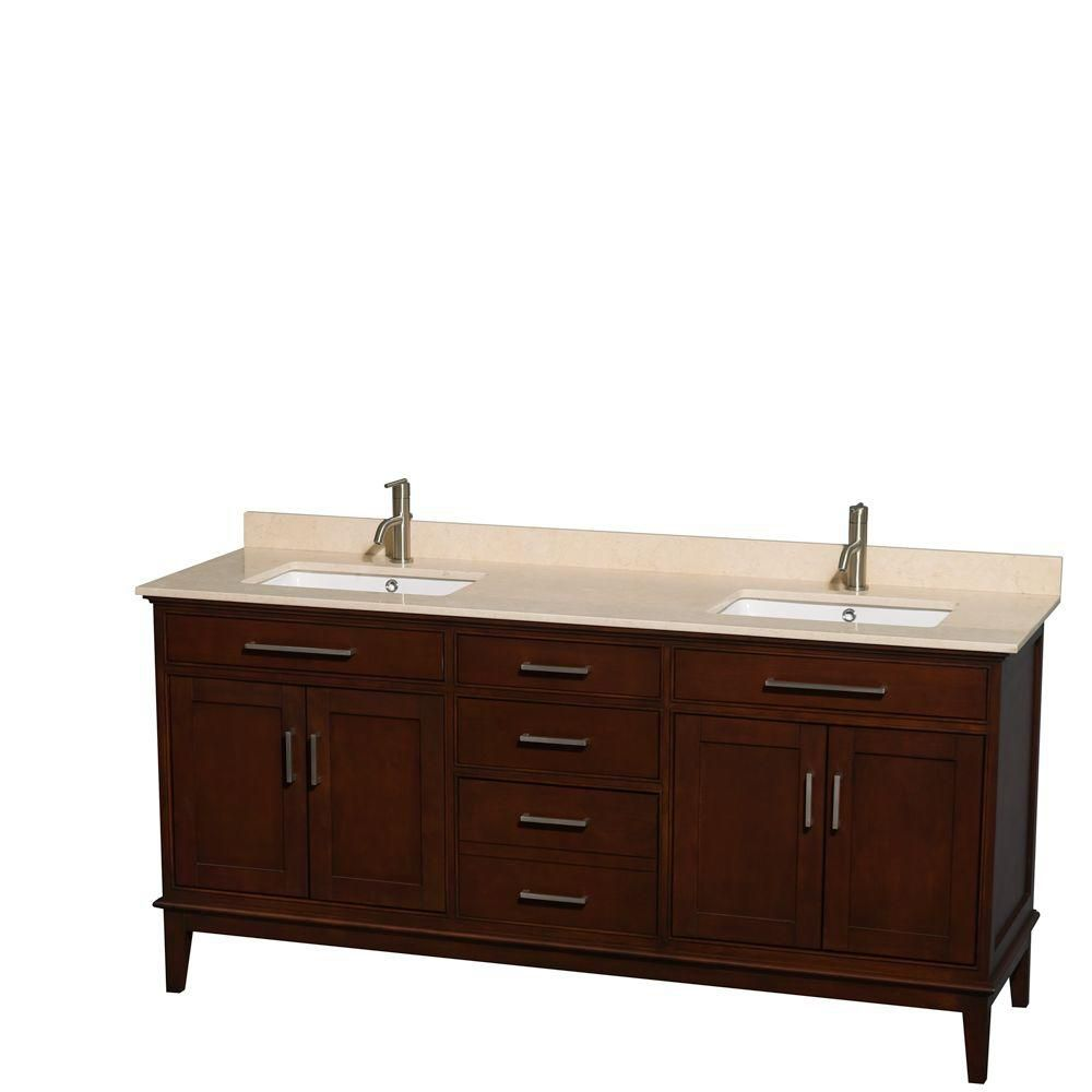 Hatton 72-inch W Double Vanity in Dark Chestnut with Marble Top in Ivory and Square Sinks