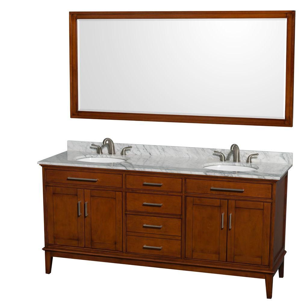 Hatton 72-inch W Vanity in Dark Chestnut with Marble Top, Sinks and 70-inch Mirror