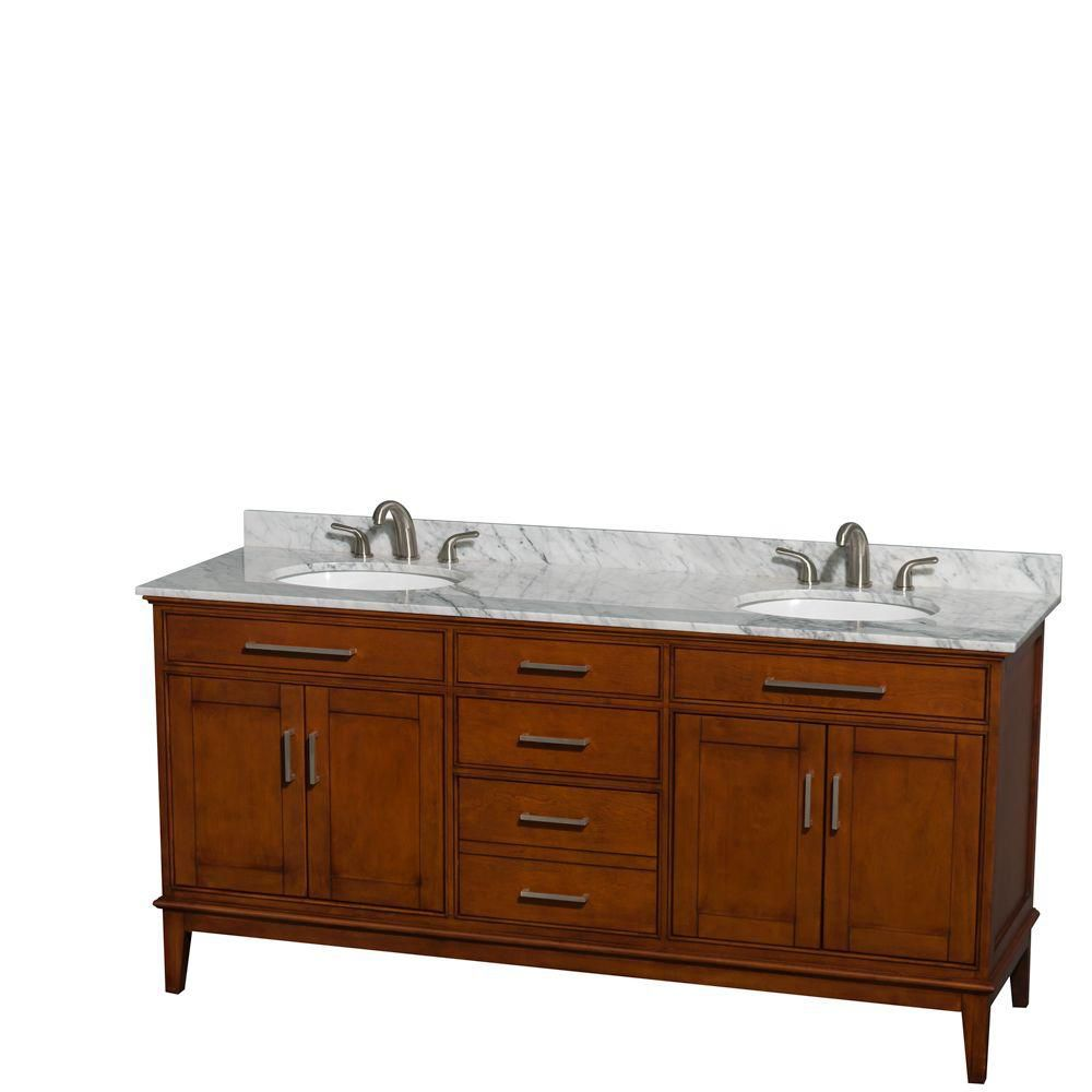 Hatton 72-inch W Double Vanity in Light Chestnut with Marble Top in Carrara White and Oval Sinks