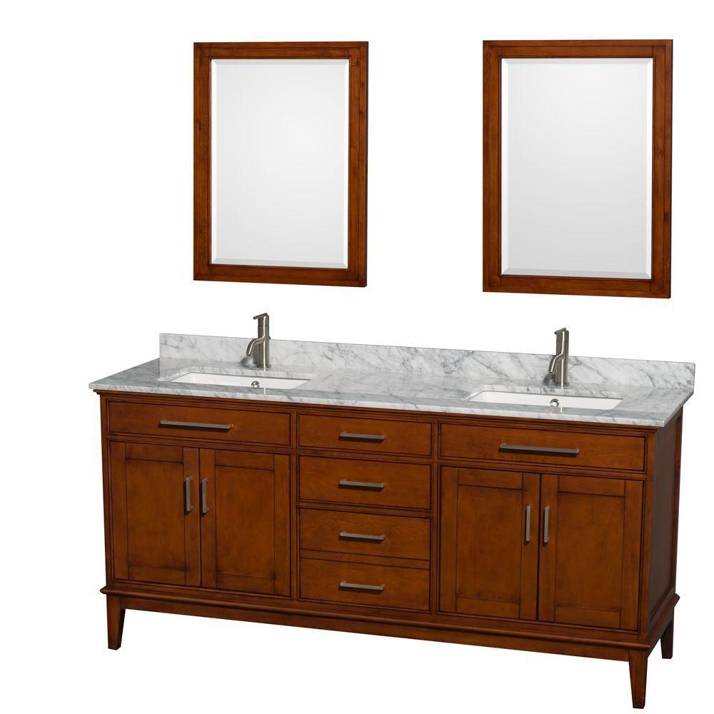 Hatton 72 po Meuble châtain clair et revêtement en marbre blanc Carrare, éviers carrés et miroirs