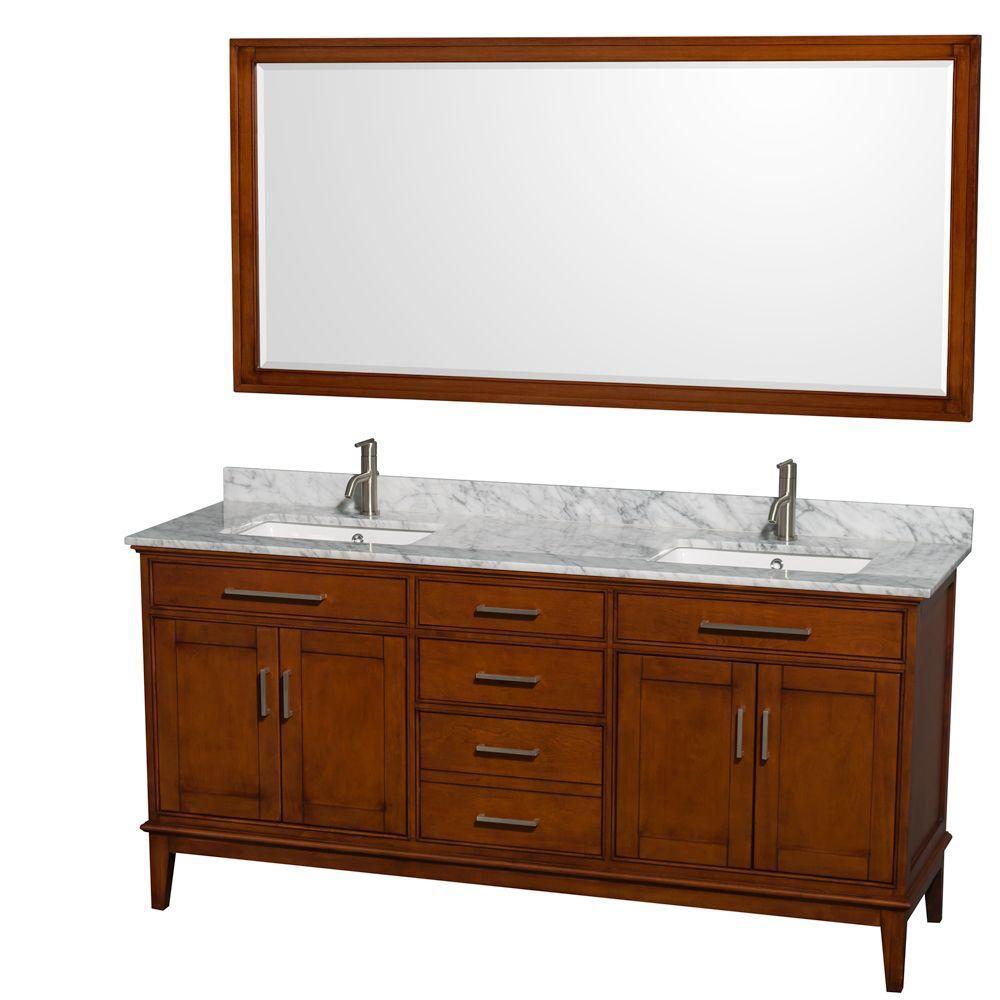 Hatton 72 po Meuble châtain clair et revêtement en marbre blanc Carrare, éviers carrés et miroir