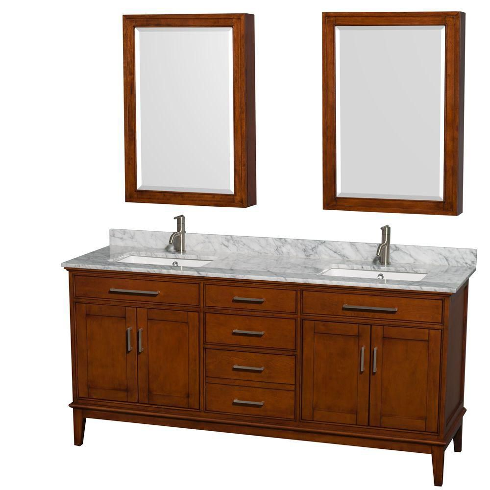 Hatton 72-inch W 3-Drawer 4-Door Vanity in Brown With Marble Top in White, Double Basins With Mirror