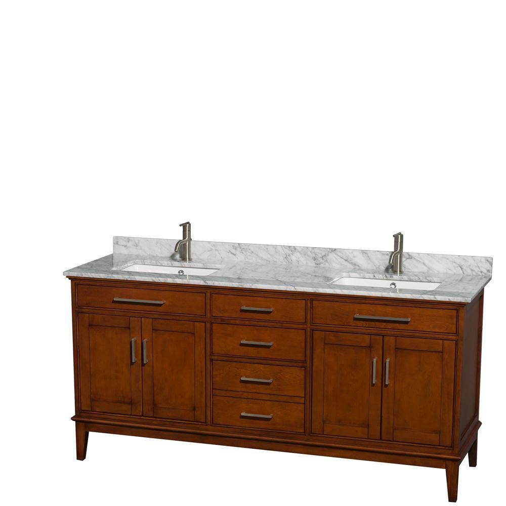 Hatton 72-inch W Double Vanity in Light Chestnut with Marble Top in Carrara White and Square Sink...