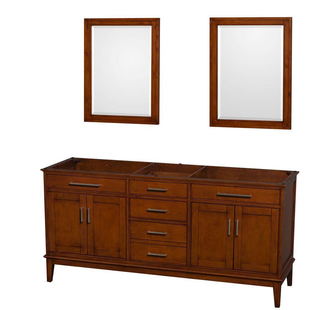 Hatton 71-Inch  Vanity Cabinet with Mirror in Light Chestnut
