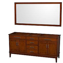 Wyndham Collection Hatton 71-inch  Vanity Cabinet with Mirror in Light Chestnut
