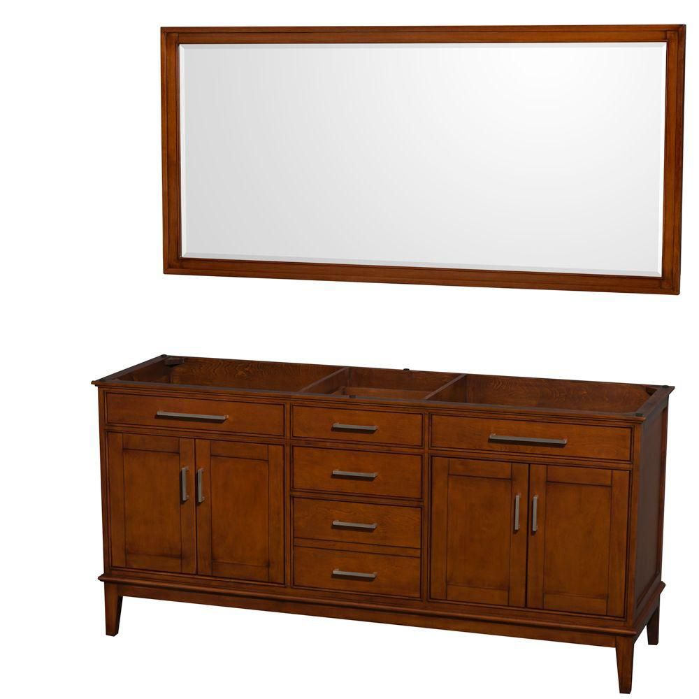 Wyndham Collection Hatton 71-Inch  Vanity Cabinet with Mirror in Light Chestnut