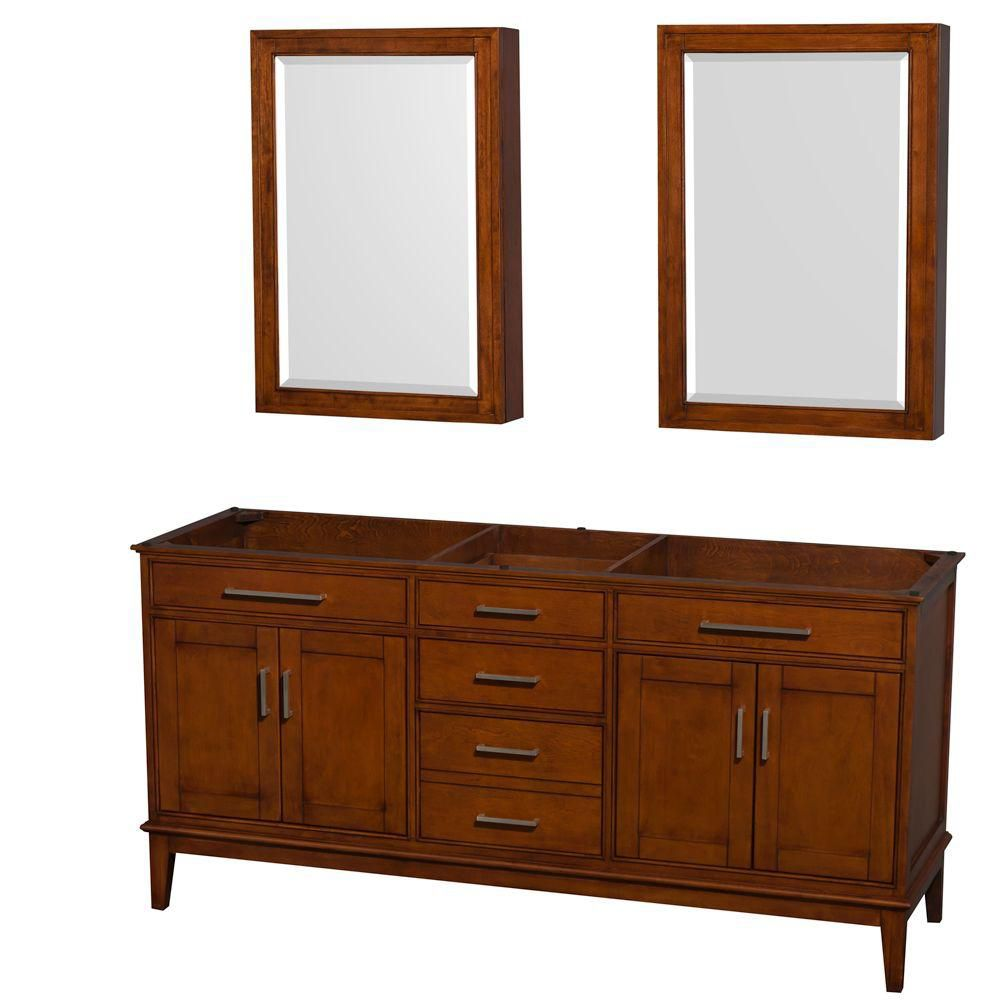 Hatton 71-Inch  Vanity Cabinet with Mirror Medicine Cabinet in Light Chestnut