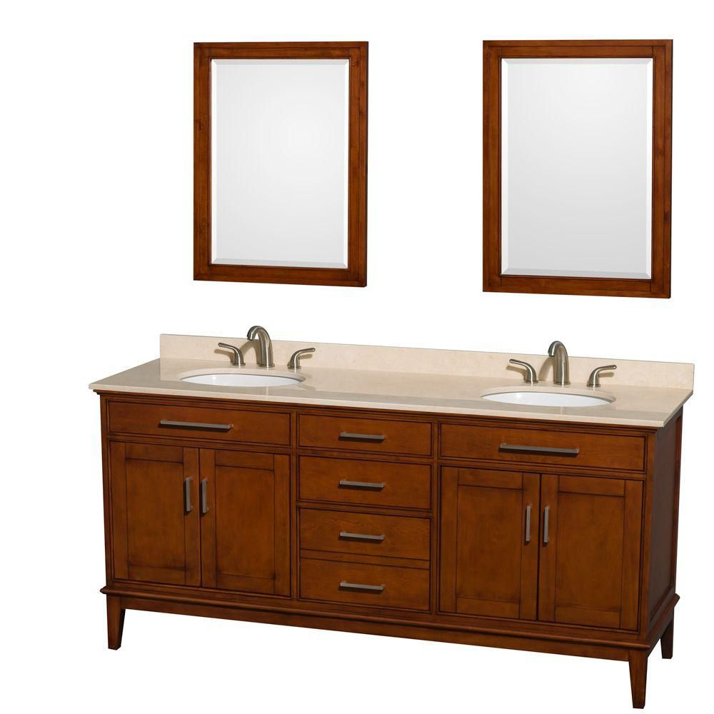 Hatton 72-inch W Double Vanity Light Chestnut with Marble Top in Ivory, Sinks and 24-inch Mirrors
