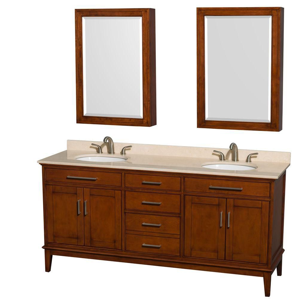Hatton 72-inch W Vanity Light Chestnut with Marble Top in Ivory, Sinks and Medicine Cabinet