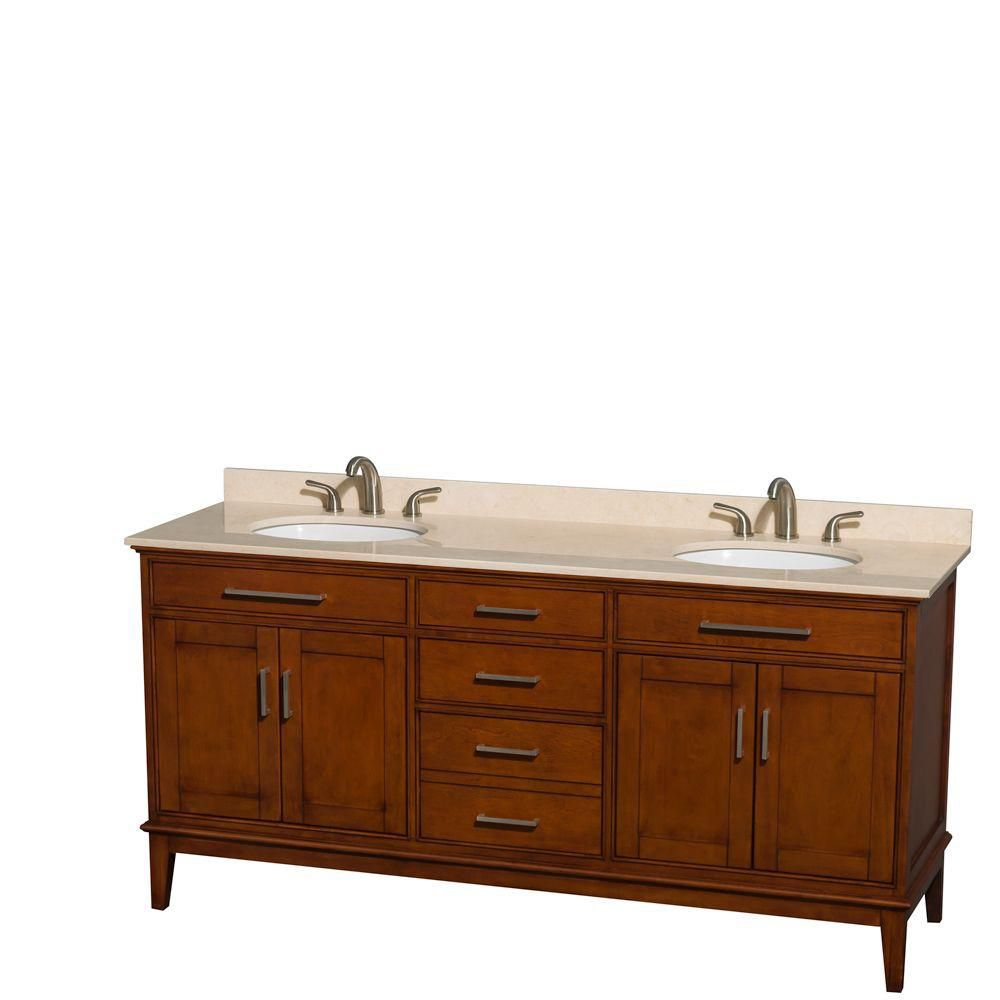 Hatton 72-inch W Double Vanity in Light Chestnut with Marble Top in Ivory and Oval Sinks