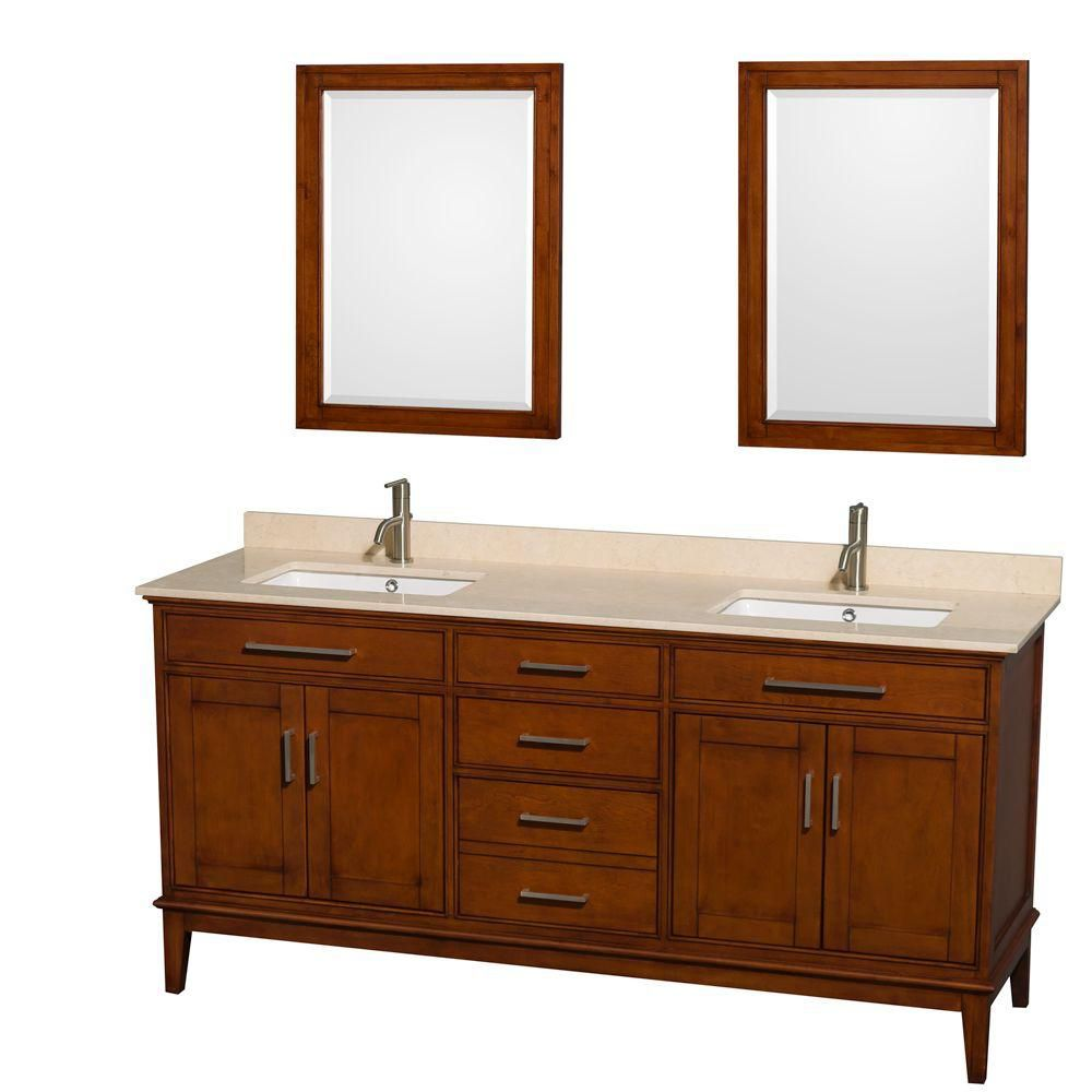 Hatton 72-inch W Double Vanity in Light Chestnut with Marble Top in Ivory and Mirrors