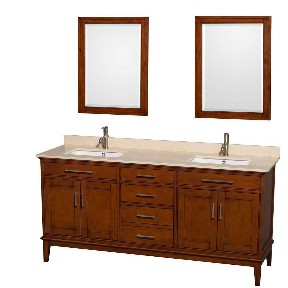 Hatton 72 po Meuble dbl. châtain clair et revêtement en marbre ivoire, éviers carrés et miroirs