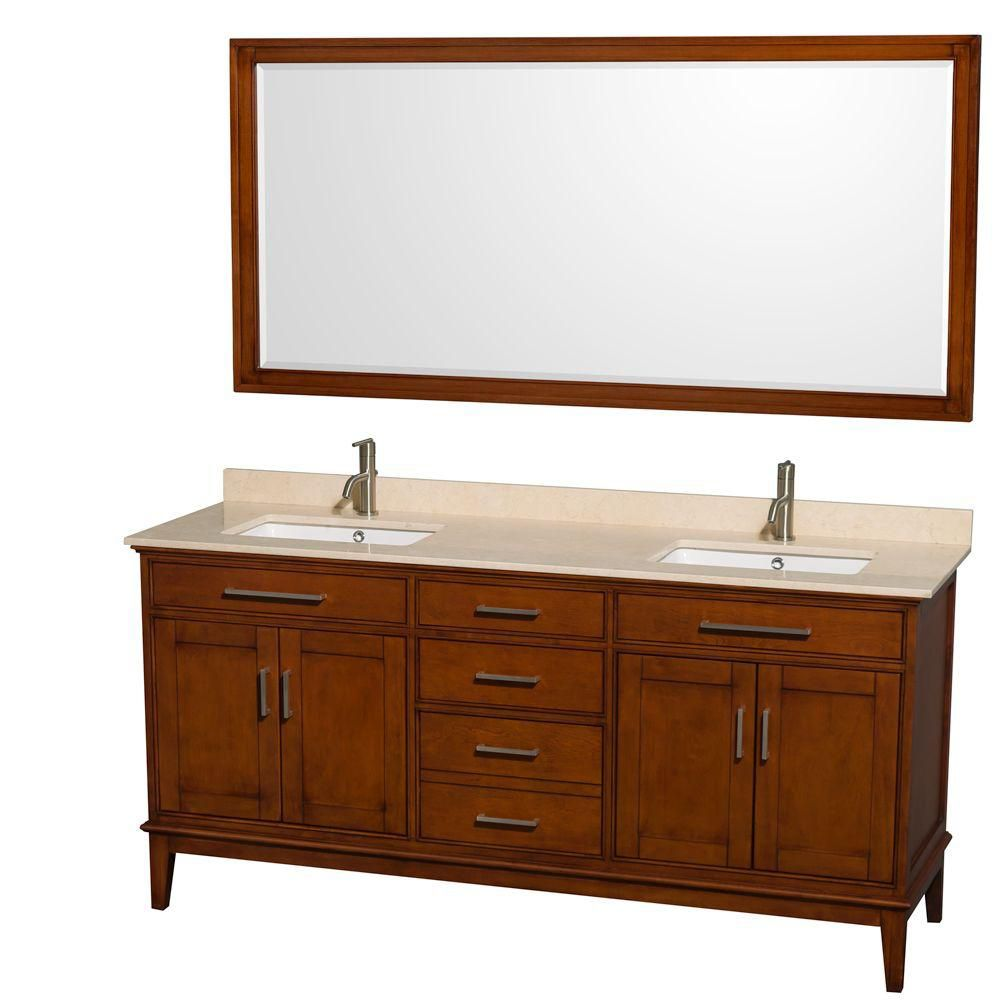 Hatton 72-inch W Vanity in Light Chestnut with Marble Top, Square Sinks and 70-inch Mirror