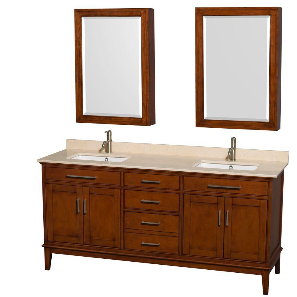 Hatton 72-inch W Vanity in Light Chestnut with Marble Top, Square Sinks and Medicine Cabinet