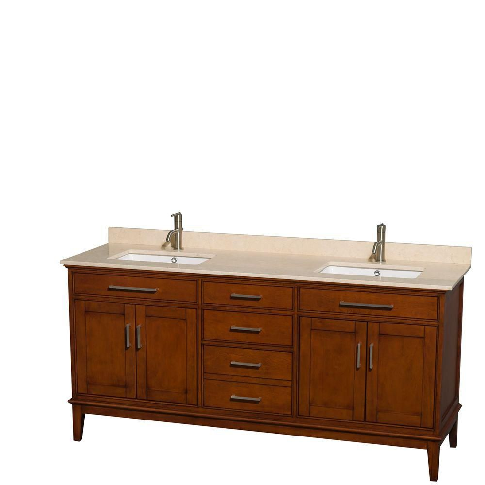 Hatton 72-inch W Double Vanity in Light Chestnut with Marble Top in Ivory and Square Sinks