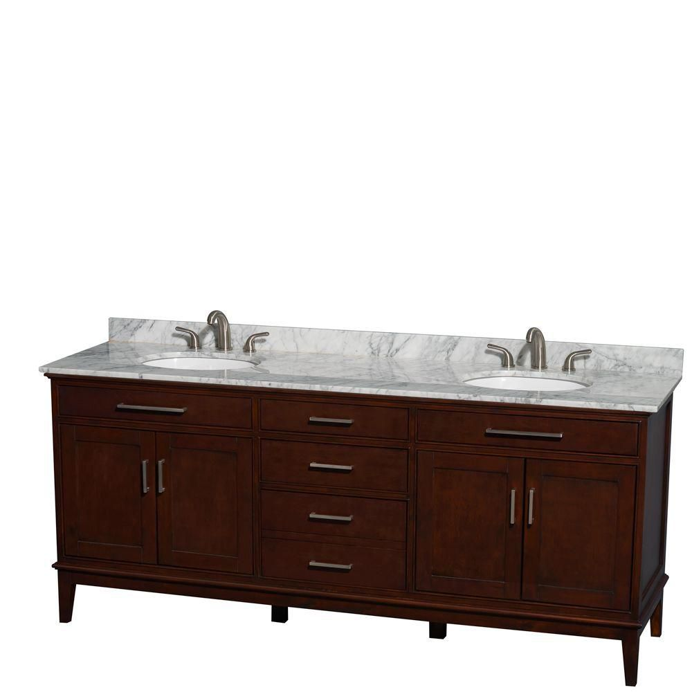 Hatton 80-inch W Double Vanity in Dark Chestnut with Marble Top in Carrara White and Oval Sinks